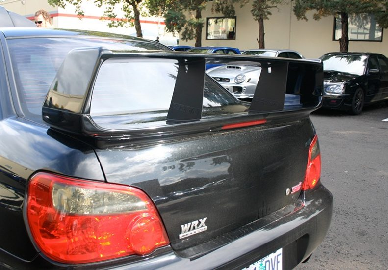 Two PERRIN Wing Stabilizers on 2004-2007 STI Sedan