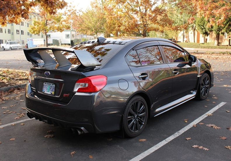 Two PERRIN Wing Stabilizers on 2015-2017 STI Sedan