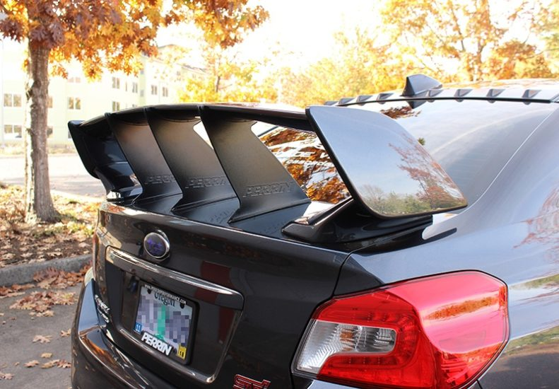 Three PERRIN Wing Stabilizers on 2015-2017 STI Sedan