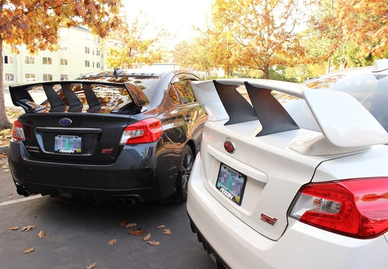 Three and Two PERRIN Wing Stabilizers on 2015-2017 STI Sedan